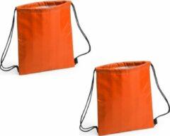 Merkloos / Sans marque Set van 2x stuks oranje koeltas rugzak 27 x 33 cm - Koelboxen draagbaar/koeltassen - Oranje fans artikelen