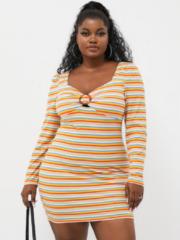 YOINS Striped Print Button Mini Dress