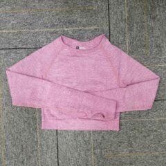 Merkloos / Sans marque Sporttop - crop top - lange mouw - naadloos - sneldrogend - roze - M