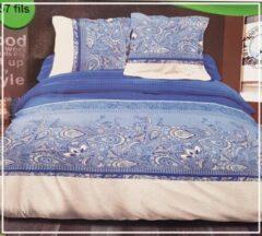 Blauwe Bedlin Dekbedovertrek Lits-Jumeaux 100% Katoen 240x220cm Qashmir Blue