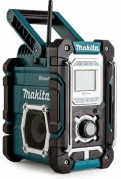 Blauwe Makita DMR106 7.2V - 18V accu bouwradio met bluetooth