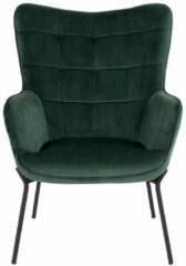 Norrut Glow fauteuil groen velours, zwarte poten.
