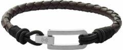 Donkerbruine Skagen Hulsten armband van leer SKJM0180040