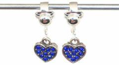 MNQ bijoux - Clipoorbellen - Oorclips - Kind - Meisje - Glitterhartjes - Blauw - Hangers