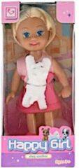 Toys Amsterdam tienerpop Happy Girl meisjes 11 cm roze/wit 2-delig