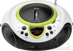 Lenco SCD-38 - Draagbare radio CD-speler met USB aansluiting - Wit/Groen
