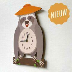 Oranje Merkloos / Sans marque Kinderklok Luiaard grijs | STIL UURWERK | dieren wandklok van hout kinderkamer en babykamer | decoratie accessoires | jongens en meisjes slaapkamer
