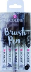Grijze Koninklijke Talens B.V Talens Ecoline 5 brush pens ''Grey''