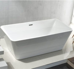 SanitairZone Aloni Quadro Vrijstaand Ligbad 180x80x60cm Acryl Met Afvoer Wit