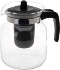 Bellatio Design Glazen transparante theepot 1,5 liter met zwart filter - Thee drinken - Thee serveren - Theepotten met filters