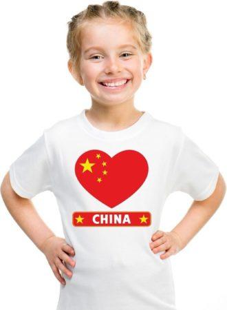 Afbeelding van Shoppartners China kinder t-shirt met Chinese vlag in hart wit jongens en meisjes L (146-152)