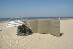 Strandwindschermen.nl Strand Windscherm 5 meter dralon Effen Taupe met houten stokken