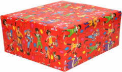1x Rollen inpakpapier/cadeaupapier Club van Sinterklaas rood 200 x 70 cm - Cadeaupapier/inpakpapier voor 5 december pakjesavond