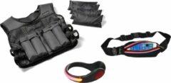 Hardlopen - Hardloopset - 3 stuks - Tunturi - Gewichtsvest 10 kg & Verlichtingsschoenclip Rood & Hardloopgordel Rood