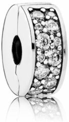 Zilveren Pandora Silver clip with clear cubic zirconia and silicone grip 791817CZ