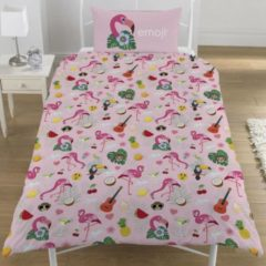Emoji Dekbedovertrek Flamingo eenpersoons 135 x 200 cm + 1 kussensloop 50 x 75 cm - Polycotton