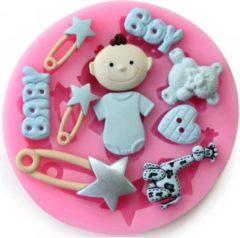 Roze Ardran & Tookar Fondant Baby Boy Mal - Siliconen Baby versiering vorm - Fondant / Marsepein / Chocolade - Babyshower decoratie
