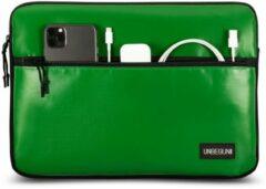 UNBEGUN MacBook Pro 16 inch sleeve met voorvak (gemaakt van gerecycled materiaal) - Groene laptop case voor nieuwe MacBook Pro 16 inch (2019/2020), Deze hoes is speciaal ontworpen voor de Apple MacBook en is handgemaakt in Nederland