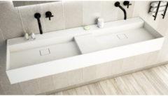 Ideavit SolidBliss Wastafel 150x45x16cm 0 kraangaten Solid surface mat wit Solidbliss-150D