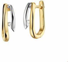 Zilveren Huiscollectie TFT Klap oorringen Diamant 0.03 Ct. Bicolor Goud Glanzend