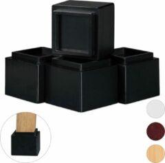 Relaxdays meubelverhoger 8.5 cm - stoelverhoger - pootverlening - 4 stuks - tafelverhoger zwart