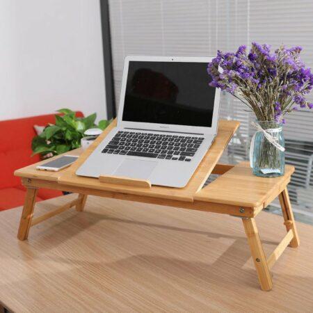 Afbeelding van Naturelkleurige Luxe Bedtafel - Laptoptafel - Bank tafeltje - Laptopstandaard - Inklapbaar -Laptop verhoger - Verstelbaar - Ontbijt op bed of op de Bank - Schoottafel - Laptophouder - Decopatent®