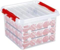 Rode Sunware Q-line Kerstballen Opberbox - 26L - Voor 75 Kerstballen - Transparant