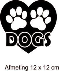 Debrocanterievriescheloo Auto / raam sticker hart - hondenpoot - hond - dog - dogs afmeting 12 x 12 cm Kleur zwart
