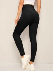 Casual legging in zwart met hoge taille | SHEIN | Zwart - L dames yoga fitness
