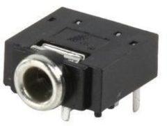 Zwarte Nedis 3,5mm Jack (v) PCB connector - plastic - 5 soldeerpunten / stereo