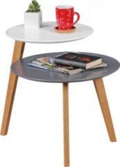 Wohnling Retro Couchtisch SCANIO Skandinavisch mit 2 Ablageflächen Weiß Grau Design Beistelltisch Holz 61 x 61 x 56 cm Holztisch Wohnzimmer matt lac