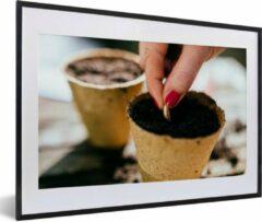 PosterMonkey Foto in lijst - Zaadjes worden in bloempotten gezaaid fotolijst 60x40 cm - Poster in lijst (Wanddecoratie woonkamer / slaapkamer)