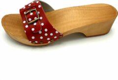 DINA muiltjes rood met witte stip leren sandalen voor dames