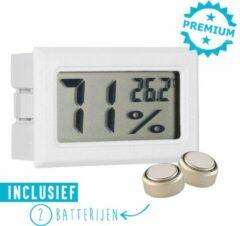 Qitch & Quisine Hygrometer Met Batterijen - Wit - Inclusief Thermometer - Digitale Luchtvochtigheidsmeter - Voor Binnen & Buiten - 2 in 1