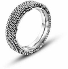 Zilveren Lazy Cat Stalen Ring - Mesh Ring - Edelstaal - 19.0mm