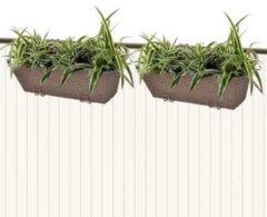 Bruine VidaXL Trapezium balkon plantenbak 50 cm rattan bruin 2 st