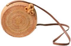 Meco 20 x 8cm Round Straw Bags Handmade Woven Beach Crossbody Bag Camping Travel Shoulder Bag