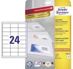 Avery-Zweckform 3658-10 Etiketten 64.6 x 33.8 mm Papier Wit 240 stuk(s) Permanent Universele etiketten Inkt, Laser, Kopie 10 vel DIN A4