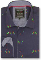 Gentile Bellini Heren Overhemd - Slim Fit - Parakeet Lovers - Blauw - Maat 3XL