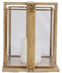 Massamarkt Windlicht glas/metaal mango frame 22x22x27cm ( exclusief kaars)
