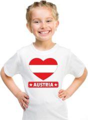 Shoppartners Oostenrijk kinder t-shirt met Oostenrijkse vlag in hart wit jongens en meisjes XL (158-164)