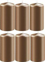 Enlightening Candles 6x Metallic koperen cilinderkaarsen/stompkaarsen 6 x 12 cm 45 branduren - Geurloze kaarsen metallic koper - Woondecoraties