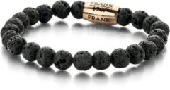 Zwarte Frank 1967 - 7FB-0048 - Rekbare Natuurstenen Armband - Lava Steen met rosékleurig Stalen element - 8 mm/ 20 cm - Zwart