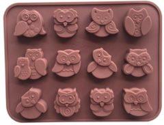 Bruine Leukste Winkeltje Chocoladevorm mal Uil siliconen vorm voor chocolade ijsblokjes ijsklontjes of fondant - LeuksteWinkeltje