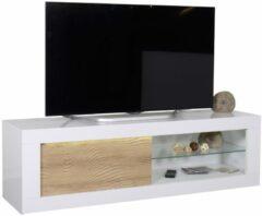Witte Ameubelment Tv meubel Karma 170 cm breed - Hoogglans wit met Eiken
