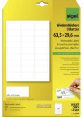 Sigel LA210 Etiketten 63.5 x 29.6 mm Papier Wit 675 stuk(s) Weer verwijderbaar Universele etiketten 25 vel DIN A4