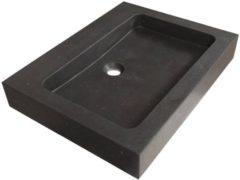 Saniclass Black Spirit meubelwastafel 60cm 1 wasbak 0 kraangaten natuursteen zwart 2360