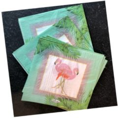 Groene Pippashop 20 stuks servetten flamingo