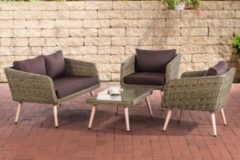 CLP Polyrattan Loungeset TROSA I Natura I Gartenlounge Rundrattan I Sofa + 2x Sessel + Glastisch I 5mm Rattandicke