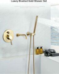 Merkloos / Sans marque Productgigant- Badkraan met handdouche- inbouw badkraan - Mengkraan - geborsteld goud